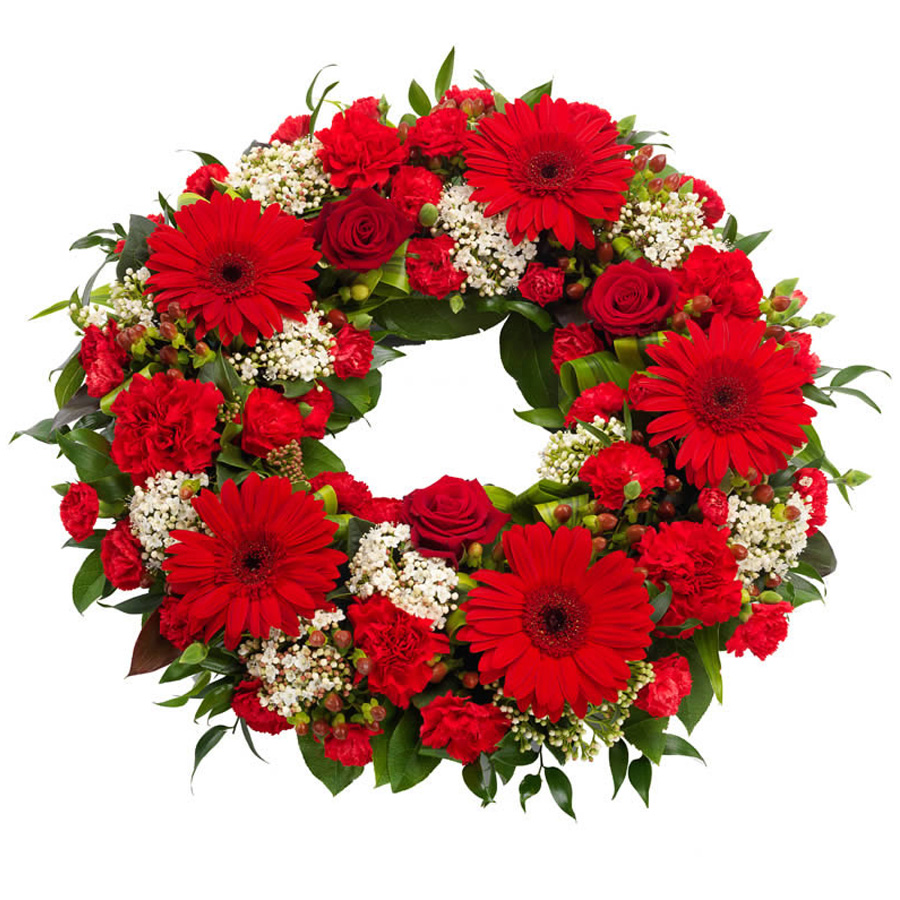 Red white wreath the funeral florist red and white funeral wreath izmirmasajfo