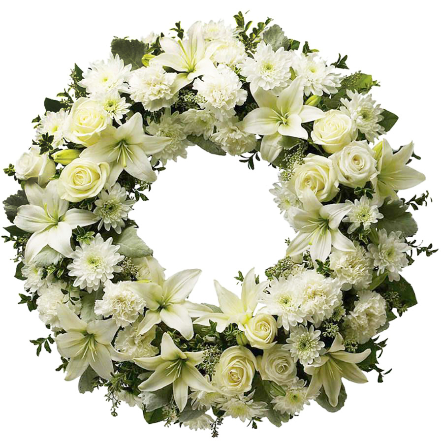 White green funeral wreath the funeral florist green and white funeral wreath izmirmasajfo