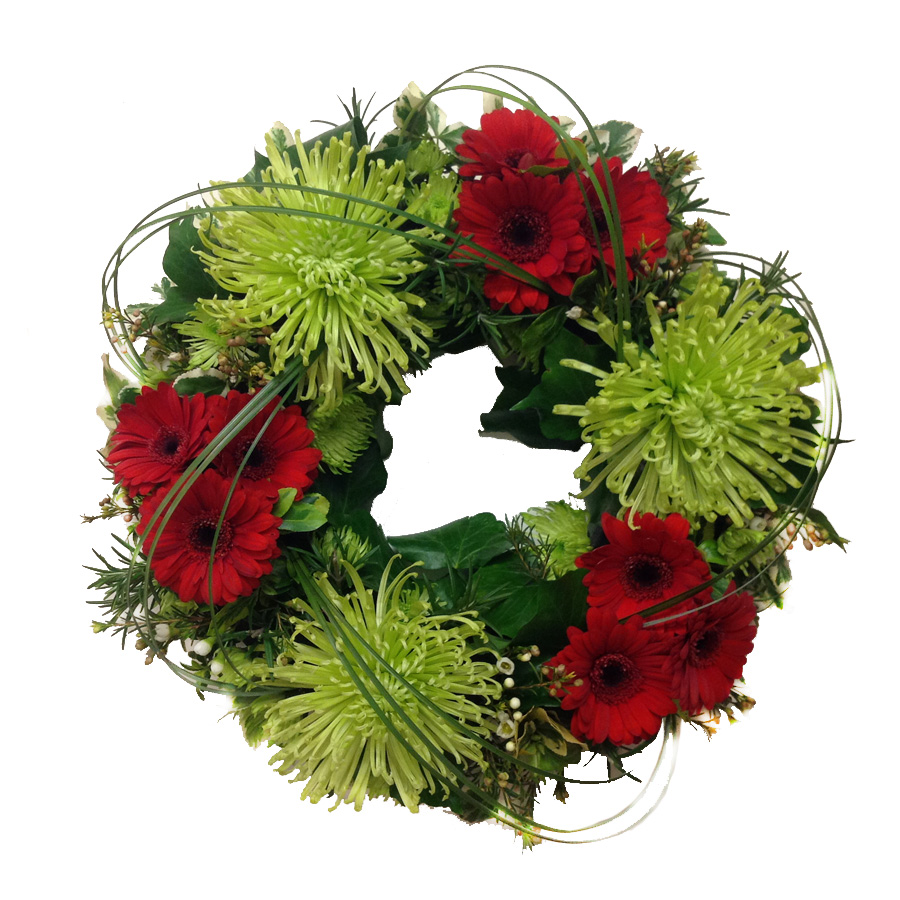 Green and Red Funeral Wreath