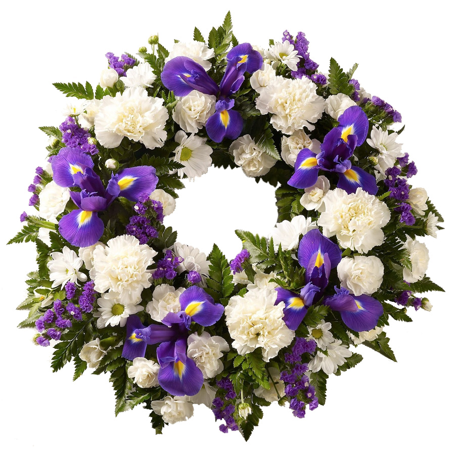 Purple and white funeral wreath