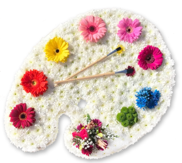 Artist palette in flowers - funeral tribute
